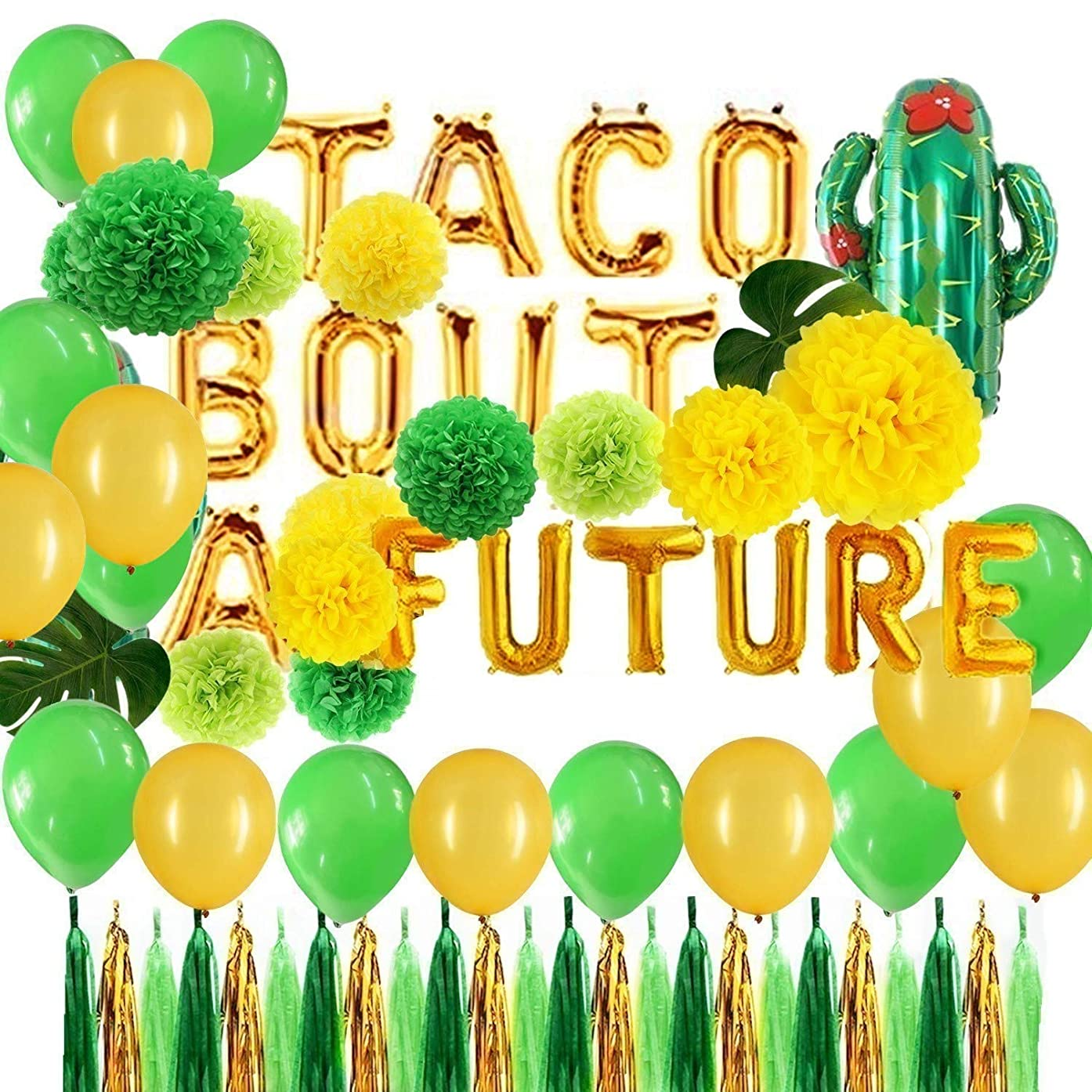 Green and Gold Taco Bout A Future Foil Cactus Balloons Tissue Pom Poms Flowers Tassel Garlands Set Fiesta Party Theme Bridal Shower Wedding Announcement Ideas Mexican Fiesta Theme Supplies