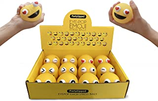 """Emoji Stress Balls Eye-Pop (12-Pack) 2.35"""" Fun, Squishy Stress, Tension, Anxiety Relief 