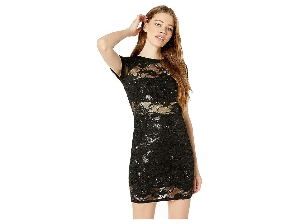 Bebe Long Sleeve Lace Tee Dress (Jet Black) Women