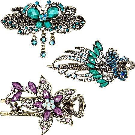 Womens Retro Crystal Rhinestone Flower Butterfly Barrette Hairpin Hair Clip