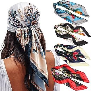 "35"" Satin Large Square Head Scarves - 4PCS Silk Like Neck Scarf Hair Sleeping Wraps Lightweight Satin Silk Scarfs for Women"