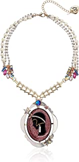 Betsey Johnson Pink Cameo Pearl Pendant Necklace