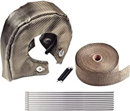 BLACKHORSE-RACING Titanium Turbo Blanket T3 for Turbocharger Thermal Heat Shield Cover Wrap with Fastener Springs and 2