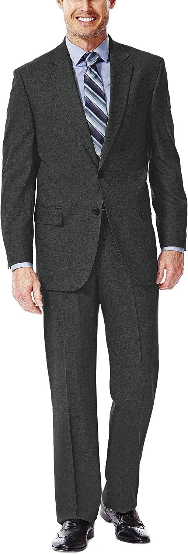 Haggar Men's Premium Performance Stretch Stria 2-Button Suit Separate Coat, Medium Grey, 42 Regular with Plain Front Suit Separate Pant, Medium Grey, 40Wx38L
