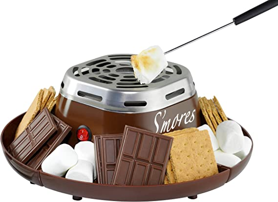 Nostalgia SMM200 Indoor Electric Stainless Steel S'mores Maker with 4 Compartment Trays for Graham Crackers