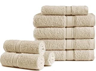 8 Pack 600 GSM Cotton Towels Set - 100% Combed Cotton Bathroom Face Towels, Highly Absorbent Wash Clothes for Body and fac...