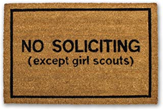 Funny Doormat -No Soliciting (Except Girl Scouts) Coir Doormat (20 x 30 Inch) - Funny Welcome mat - Cute Doormat - Cute Welcome mat