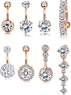 YADOCA 14G 8 Pcs Stainless Steel Belly Button Rings for Women Body Curved Barbell Dangle Body Piercing Set Navel Bar Rings CZ Silver-Tone Rose Gold