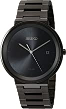 Seiko Mens Dress Japanese-Quartz Watch with Stainless-Steel Strap, Black, 20 (Model: SNE481)