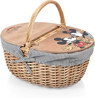 PICNIC TIME Disney Classics Mickey and Minnie Mouse Country Basket with Liner, Navy/White Stripe