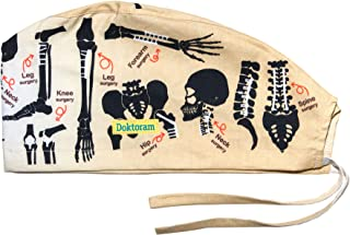 Surgical Scrub Cap Medical hat Funny Prints Skull Cap (Bones)