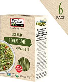 Explore Cuisine Organic Edamame Spaghetti (6 Pack) - 8 oz - High Protein, Gluten Free Pasta, Easy to Make - USDA Certified Organic, Vegan, Kosher, Non GMO - 24 Total Servings