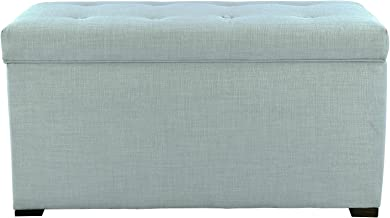 MJL Furniture Designs Angela Collection Button Tufted Upholstered Lift Top Medium Sized Bedroom Chest Storage Trunk, HJM100 Series, Sea Mist