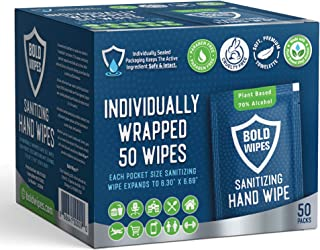Bold Wipes Hand Sanitizing Wipes 50 Individually Wrapped Antibacterial Hand Sanitizer Wipes Large Size for Travel, Home, O...