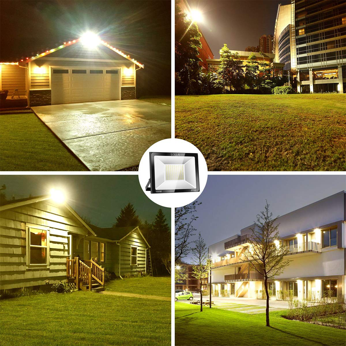 Foco LED 100W IP66 Luz de Seguridad Exterior Impermeable, 8000LM, Blanco Cálido 3000K, Foco Exterior de Pared para Patio, Garaje, Almacén, Parking, Jardín, Carreteras, Calles, Plazas, etc.: Amazon.es: Iluminación