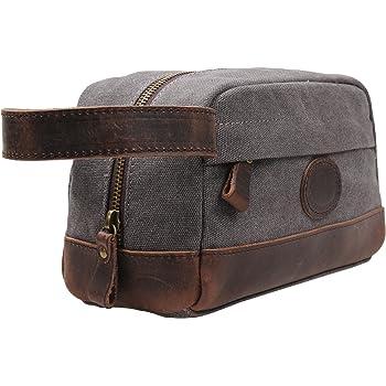 Vintage Leather Canvas Travel Toiletry Bag Shaving Dopp Kit #A001 (Grey)