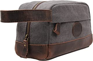 Vintage Leather Canvas Travel Toiletry Bag Shaving Dopp Kit #A001 (Grey)