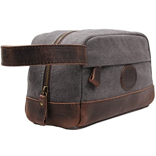 33b1ee46b46f MSG Vintage Leather Canvas Travel Toiletry Bag Shaving Dopp Kit  A001 (Grey)
