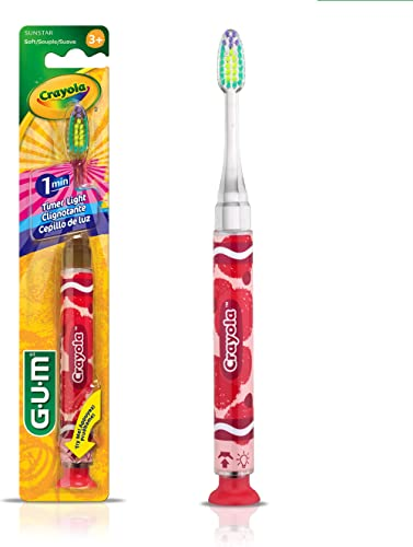 GUM Crayola Kids' Timer Light Toothbrush, Ultra Soft, Suction Cup Base, Gentle, Ages 3+, 1 Count