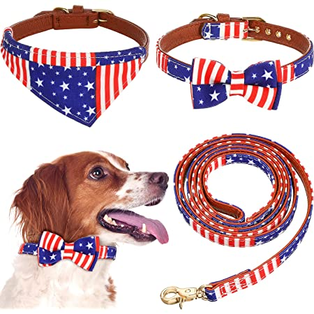 3 Pieces American Flag Dog Collar and Leash Set Independence Day Dog Bowtie Collar Patriotic Dog Collar Bandana USA Flag Dog Leash for Small Medium and Large Dogs Puppies Cats Outdoor Walking