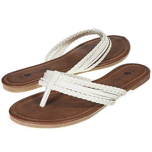 ddcf8931339bc5 Sara Z Womens Triple Braided Flip Flop Thong Sandal