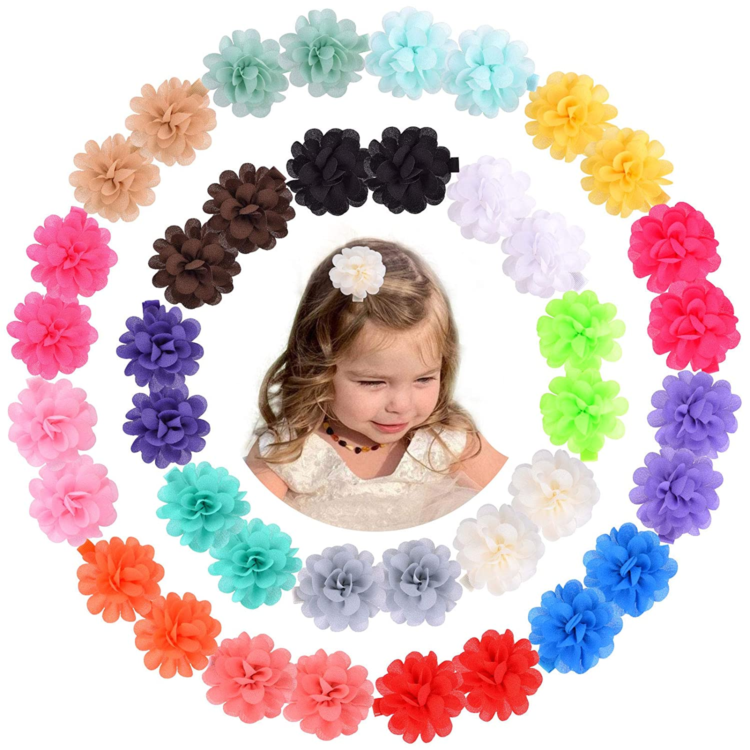 40Pcs Baby Opening large release sale Girl Hair Bow Satin Clips Floral Grosgrain Barrettes Japan's largest assortment