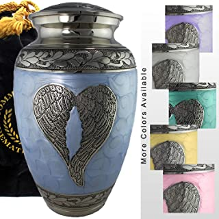 Loving Angel Wings Blue/Silver Cremation Urns for Human Ashes Adult for Funeral, Burial, Columbarium or Home, Cremation Urns for Human Ashes Adult 200 Cubic Inches, Urns for Ashes (Large/Adult)