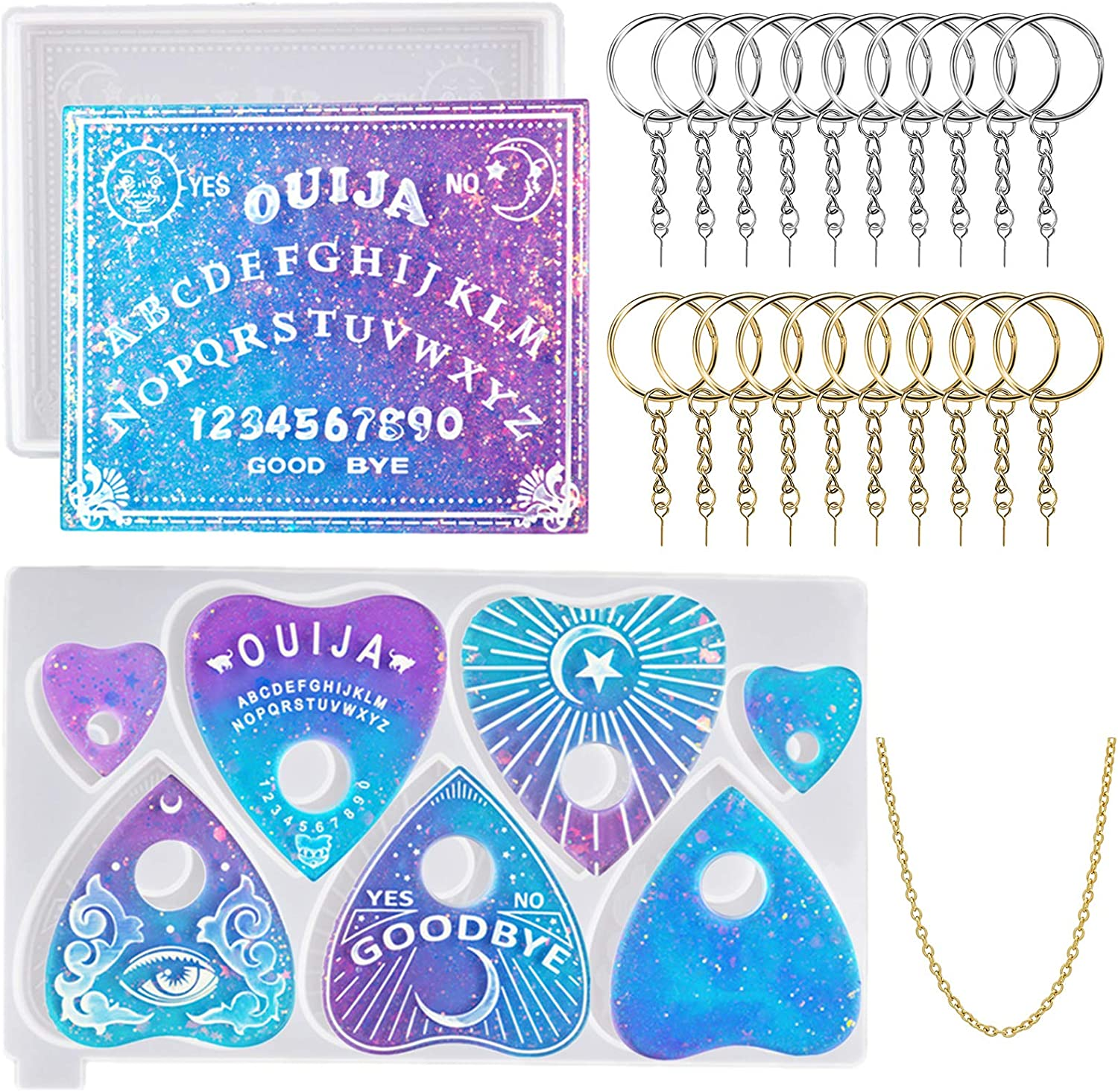 Sales Ouija Board Resin Mold and Planchette Max 74% OFF 2 Silicone for