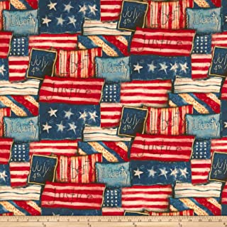 Springs Creative Products Susan Winget Patriotic Flag Patch Digital Woven Fabric, Red, Fabric By The Yard