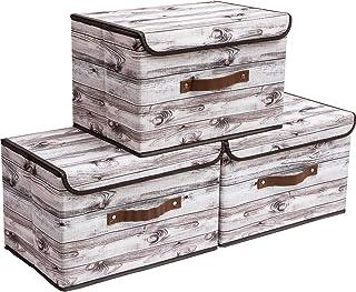 Yawinhe Lot de 3 Panier de Rangement, Pliable en Tissu de avec Couvercle, pour Serviettes, Livres, Jouets, Vêtements et Ai...
