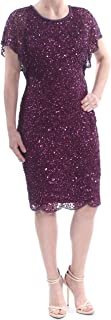 Beaded Sequined Dress Carbernet Size 10 Purple