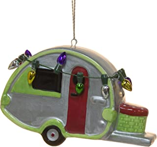Cape Shore Ceramic Teardrop Camper Travel Trailer Christmas Ornament with Lights