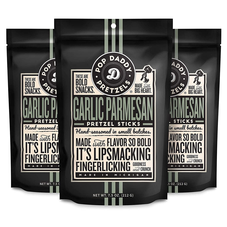 Pop Daddy Garlic Parmesan 7.5 price Flavored Gourmet oz New Free Shipping Pretzel Bold