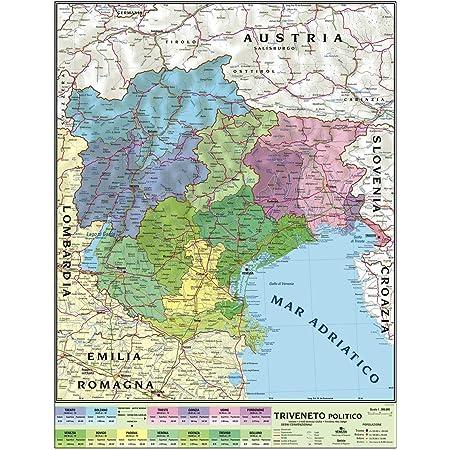 Cartina Del Veneto E Friuli.Carta Geografica Murale Regionale Triveneto 100x140 Bifacciale Fisica E Politica Amazon It Cancelleria E Prodotti Per Ufficio