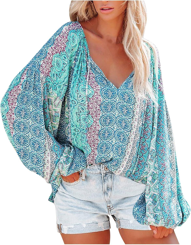 Fashion Womens Sweatshirts Vintage Print Pullover Tops V-Neck Loose Lantern Long Sleeve Hoodies