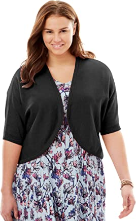 Woman Within Women's Plus Size Rib Trim Cardigan Shrug