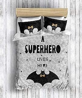 DecoMood 3D Printed 100% Cotton Superhero Bedding Set, Batman Themed Full/Queen Size Quilt/Duvet Cover Set, Grey (3 Pcs)
