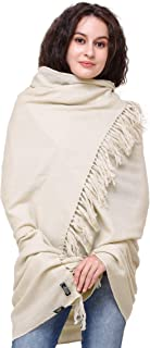 Exotic India Wood-Ash Pure Pashmina Shawl from Nepal With ZigZag Wea - Off-White