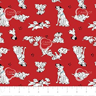 Disney 101 Dalmatians Pongo, Perdy & Puppies in Red Premium Quality Cotton by The Yard