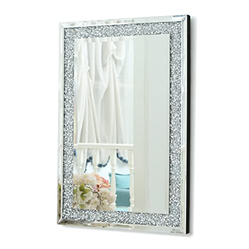 4cb0920a83e9 RICHTOP Wall Mirror Large Frameless Bevelled Rectangle Wall Mounted Mirrors  with Glitter Diamond Hung for Living