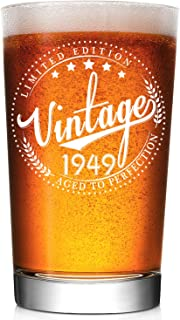 1949 70th Birthday Gifts for Men and Women Beer Glass - Vintage Aged To Perfection Gift - Funny 70th Anniversary Gifts Idea for Him/Her, Dad, Husband, Mom, Wife - 16oz Old Fashion Glass