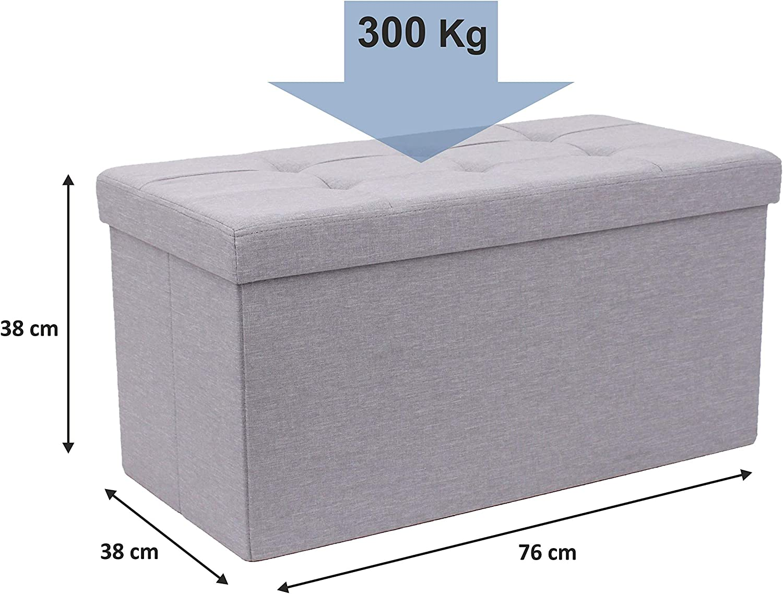 seduta imbottita 76 x 38 x 38 cm Carico massimo di 300 kg D/&D Quality Pouf portaoggetti pieghevole grigio chiaro