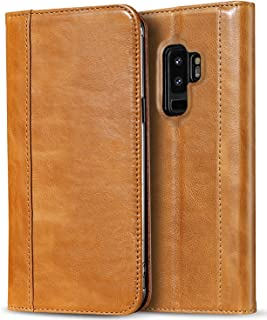 ProCase Galaxy S9 Plus Genuine Leather Case, Vintage Wallet Folding Flip Case with Kickstand, Card Holder, Magnetic Closure Protective Cover for Galaxy S9+ 2018 Release -Brown