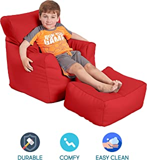 FDP SoftScape Bean Bag Chair and Ottoman Set, Furniture for Kids, Perfect for Reading, Playing Video Games or Relaxing, Alternative Seating for Classrooms, Daycares, Libraries or Home - Red