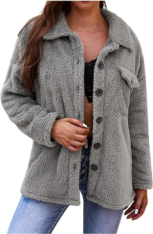 Haozin Women's Warm Fleece Lapel Button Fuzzy Long-Sleeve Solid Color Jacket Coat Tops With Pockets