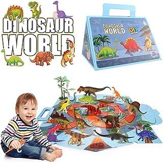Dinosaur Toys for Boys & Girls - Dinosaur Figure with Activity Play Mat - Educational Realistic Dinosaur Playset Including...