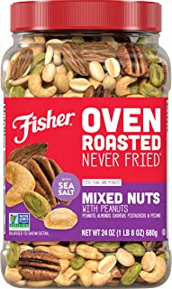 FISHER Snack Oven Roasted Never Fried Mixed Nuts, 24 Oz, Peanuts, Almonds, Cashews, Pistachios, Pecans, Made With Sea Salt