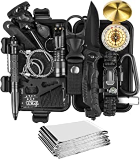 JINAGER Survival kit, Professional Emergency Survival gear 15 in 1, Upgraded Tactical Defense Tool for Hiking Camping Clim...