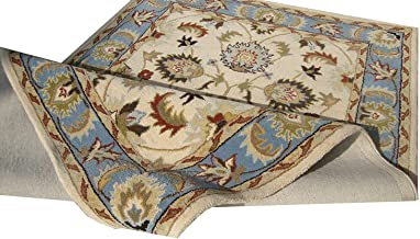 Carpet Palace Just Launched Handmade Persian Superfine Wool Carpet with 1 Inch Thikness (6x9 Feet) Color Ivory & Sky Blue