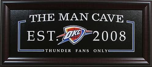 WiningStreak Basketball Oklahoma City Thunder Man Cave Sign Framed Deluxe Licensed Embroidered Team Emblem 3021